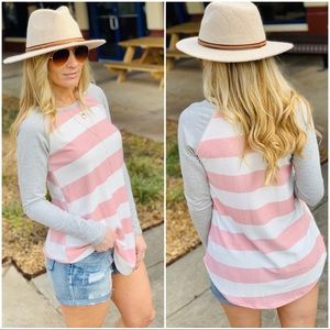 GATHERING MY THOUGHTS STRIPED TOP-BLUSH